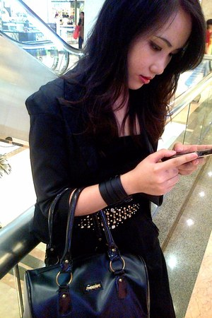 black blazer - black bag Furla bag - black jumpsuit Stradivarius top