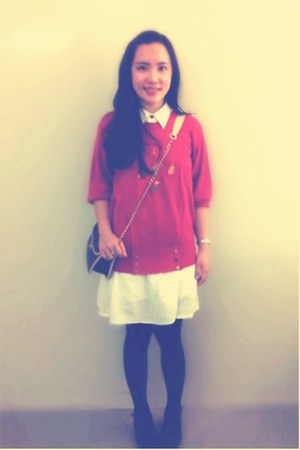 white dress - red sweater - black Steve & co bag - black stockings
