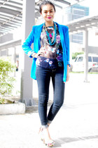 jeans - blazer - necklace - top - wedges