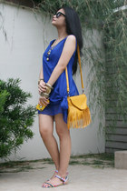 white sandals - blue dress - light orange bag - charcoal gray necklace