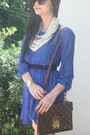 Blue-dress-dark-brown-bag-watch-necklace-black-glasses