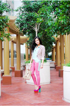 hot pink CMG philippines shoes - white Bazaar blazer - eggshell Forme bag