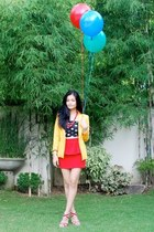 red shoes - yellow blazer - red necklace - red skirt - black top