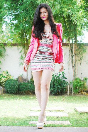 hot pink blazer - white shoes - ruby red dress - coral bracelet