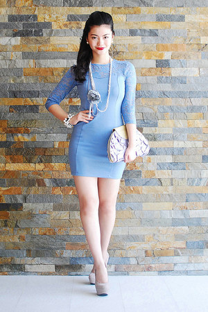 necklace - periwinkle shoes - violet dress - purse - bracelet