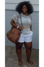 Tribal-pattern-rainbow-shirt-charolette-russe-purse-white-dots-shorts
