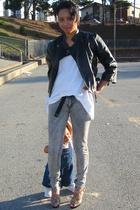 black Wet Seal shirt - white Hanes shirt - beige Madden Girl shoes - gray Lux je