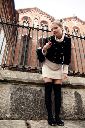 black brandy jacket - pull n bear dress - Calzedonia tights