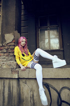 white American Apparel stockings - yellow UNIF sweater