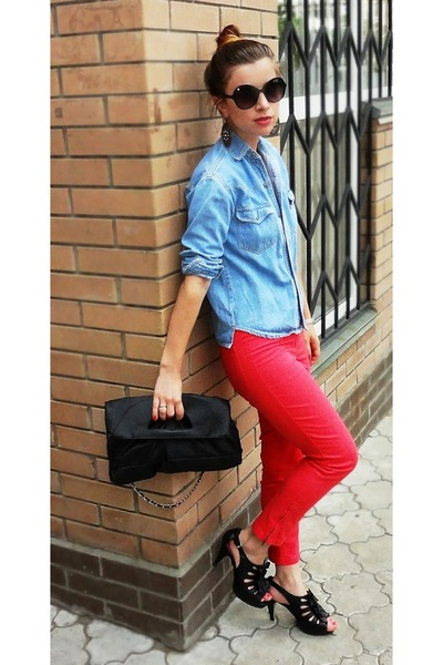 red red pants Zara pants - sky blue denim shirt Topshop shirt