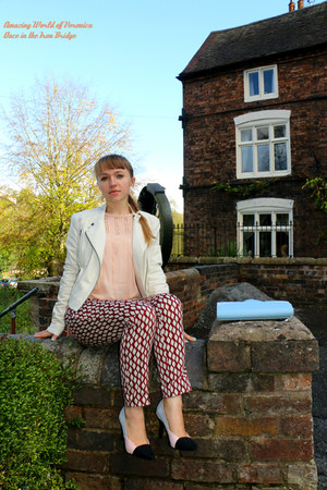 ruby red Zara pants - white Topshop jacket - light blue Atmosphere bag