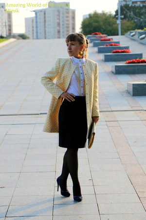 yellow Zara coat - light yellow unknown brand bag - navy H&M skirt