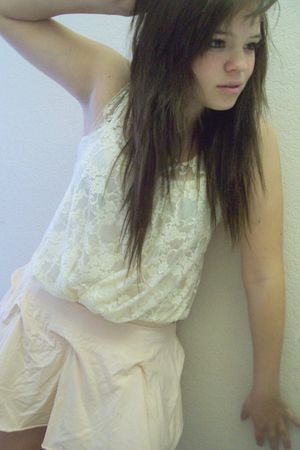 pink Forever21 skirt - beige Forever21 top - silver  necklace - beige Forever 21