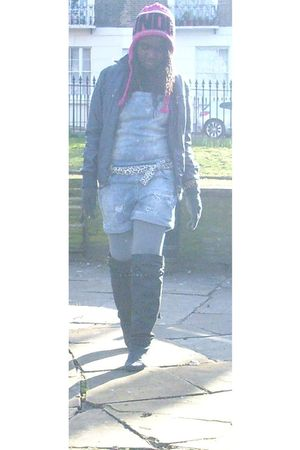 black Mustang boots - silver Bershka leggings - Bershka jacket - pink london sou