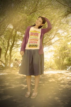 purple cardigan - blue t-shirt - blue skirt - pink shoes