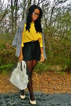 black houndstooth jacket - yellow vintage dress blouse - black Arden B romper