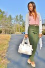 Neutral-flats-cream-bag-pink-top-aquamarine-cardigan