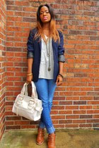 navy blazer - tawny buckled Graceland boots - thrifted jeans - ivory bag