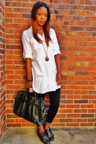 bag - black thrifted jeans - cotton tunic Talbots shirt - metallic oxford flats