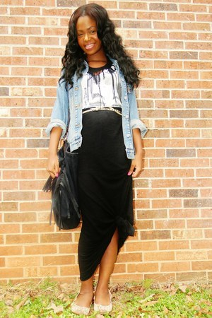 vintange denim Levis jacket - diy fringe necklace