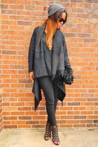 black jeans - black diy shag bag - black silk vintage blouse - black cardigan