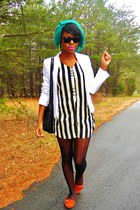 off white vintage blazer - striped vintage dress - green diy scarf