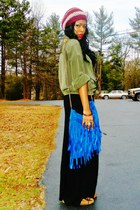 olive green thrifted shirt - blue diy purse - black maxi skirt