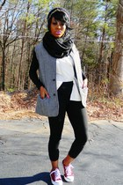 red checkered sneakers - gray Urban Outfitters coat - black vintage leggings