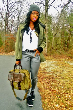 army green military coat - olive green bag - white t-shirt