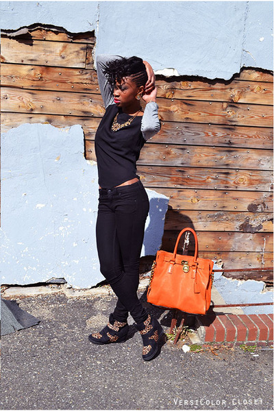 carrot orange Michael Kors bag - black H&M jeans - black Forever 21 sneakers