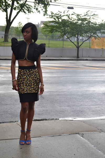 black H&M skirt - blue Zara sandals