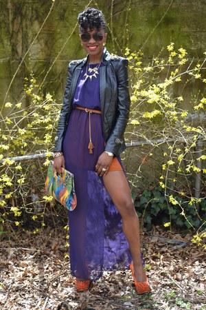 burnt orange Local Boutique shoes - purple Local Boutique dress