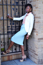 light blue H&M skirt - tan Bebe shoes - white Zara blazer - peach H&M blouse