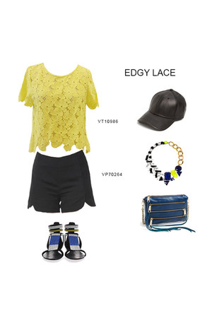 black VeryJ shorts - yellow yellow lace VeryJ top