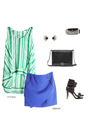 green VeryJ top - blue VeryJ skirt