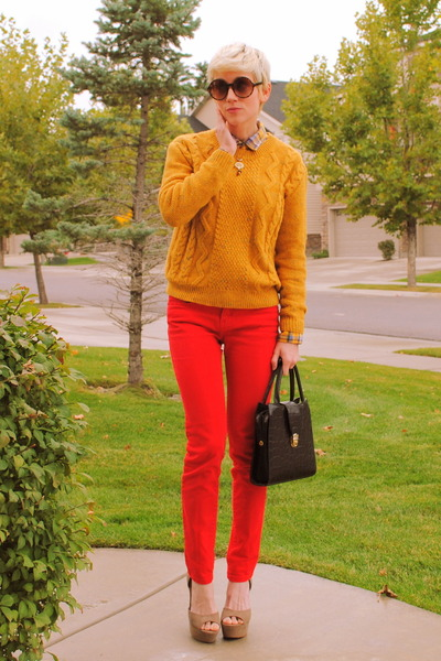 mustard chunky Urban Outfitters sweater - tan platform Steve Madden shoes