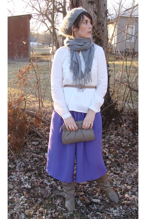 purple pants - white blouse - brown purse - brown Joyce boots - gray hat - gray