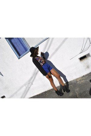 American Apparel hat - Forever 21 boots - floral print Forever 21 blouse