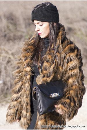 Zara hat - Jimmy Choo boots - Zara dress - Stradivarius coat - Zara bag