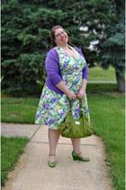 cotton asos dress - olive green relic bag - violet swak cardigan - bronx wedges