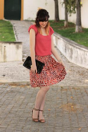 H&M skirt - H&M bag - Stradivarius heels - Zara top