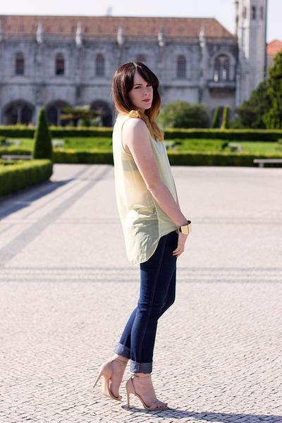 light yellow Zara vest - navy H&M jeans - nude Zara heels