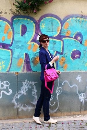 hot pink Boohoo bag - navy Zara jeans - navy H&M blazer - eggshell flats