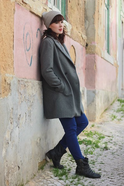 charcoal gray Zara coat - dark gray warehouse boots - blue Zara jeans