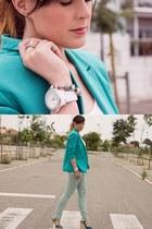 turquoise blue Pull & Bear blazer - aquamarine Zara jeans