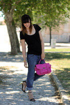 hot pink Boohoo bag - navy Topshop jeans - black H&M t-shirt - black Zara heels