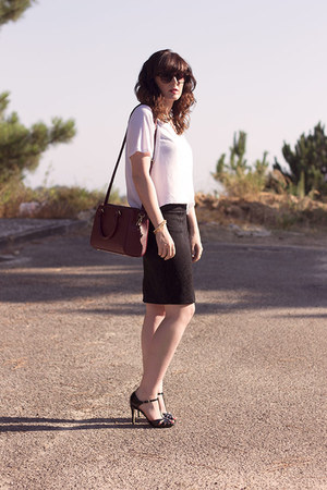 white Zara top - maroon Zara bag - black Zara heels - black Mango skirt