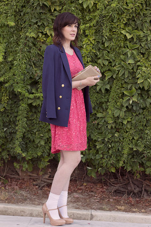 navy H&M blazer - salmon Krisp dress - ivory Parfois bag - peach Zara heels