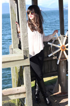 light pink H&M blouse - black H&M jeans