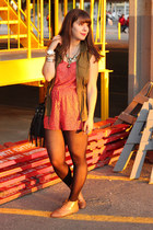carrot orange H&M romper - olive green Old Navy vest - brown Forever 21 flats